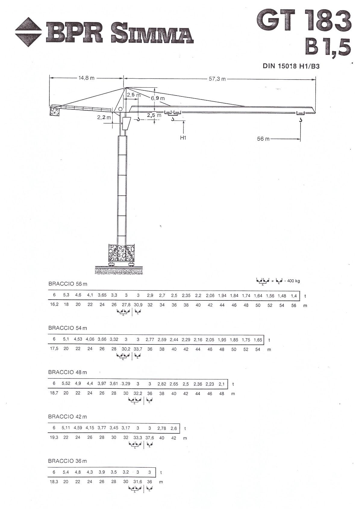 №14962 Итальянский башенный кран Simma GT 183
