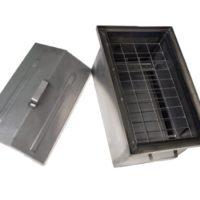 №24936 Коптильня из углеродистой стали с гидрозатвором и крышкой домиком (520х320х300)